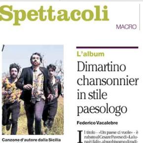 """IL DISCO DI DIMARTINO RECENSITO SU """"IL MATTINO"""""""