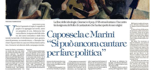L'INCONTRO TRA VINICIO CAPOSSELA E GIOVANNA MARINI SU LA REPUBBLICA